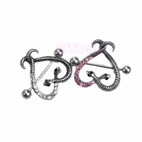 Surgical Steel Two Snake Heart Shape Nipple Shield Ring Body Piercing Jewelry