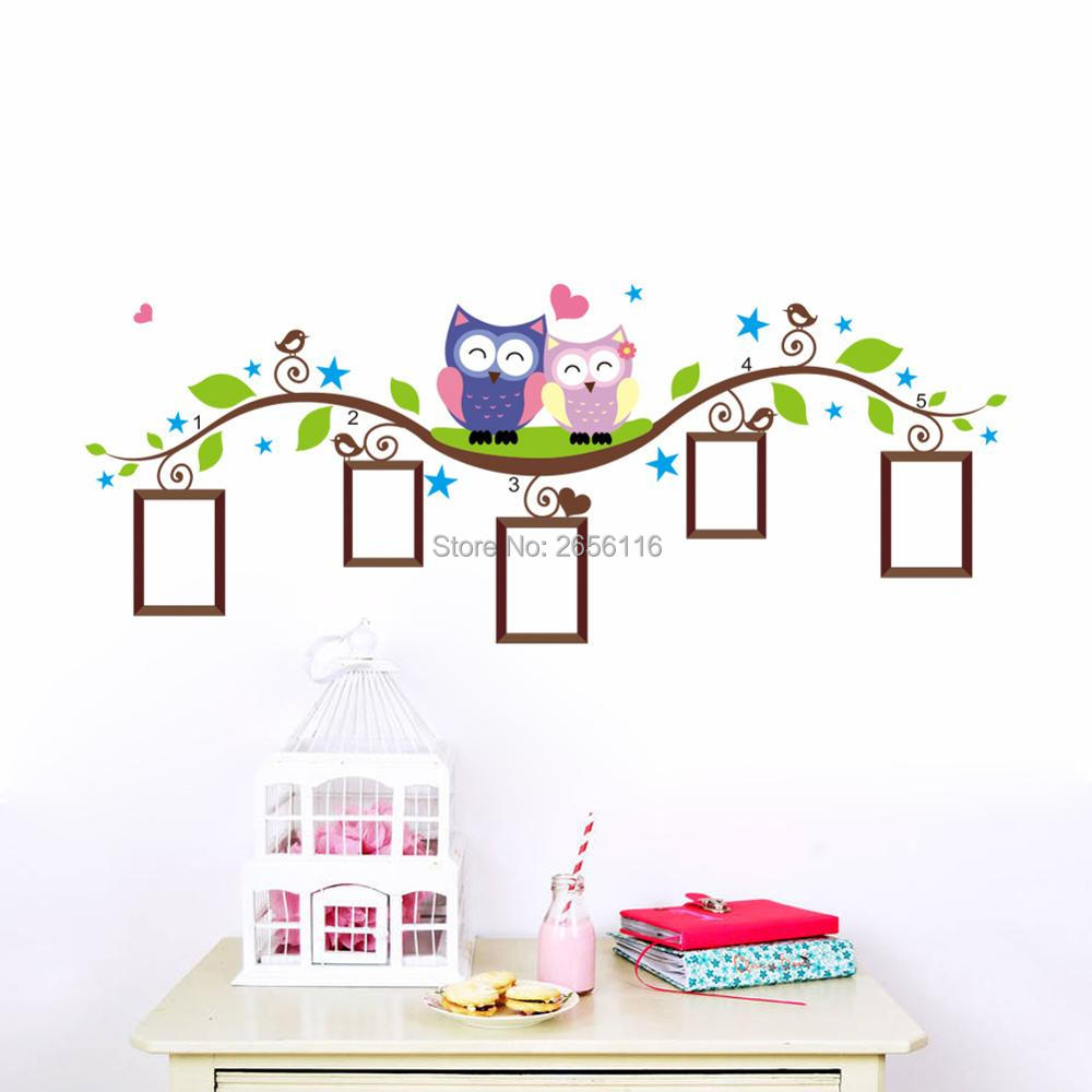 Owls on Tree Branch Photo Frame Cartoon Wall Stickers for Kids Rooms Nursery Decoration
