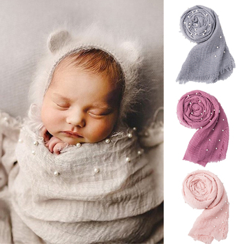 90x170cm Baby Wrap Newborn Photography Posing Swaddle With Pearls Soft Infant Cotton Linen Cloth Blanket Studio Photo Props new organic cotton newborn swaddle blanket hats baby swaddle set blanket wrap with cap for 0 6 months baby photography props