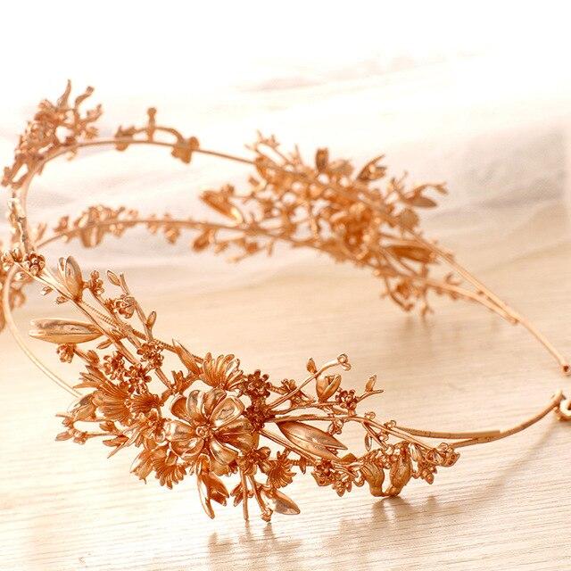 Flor de Oro de lujo Nupcial Tiaras de Novia Hechos A Mano Accesorios Para el Cabello Dos Filas Nupcial Hairbands Headbands Celada Prom