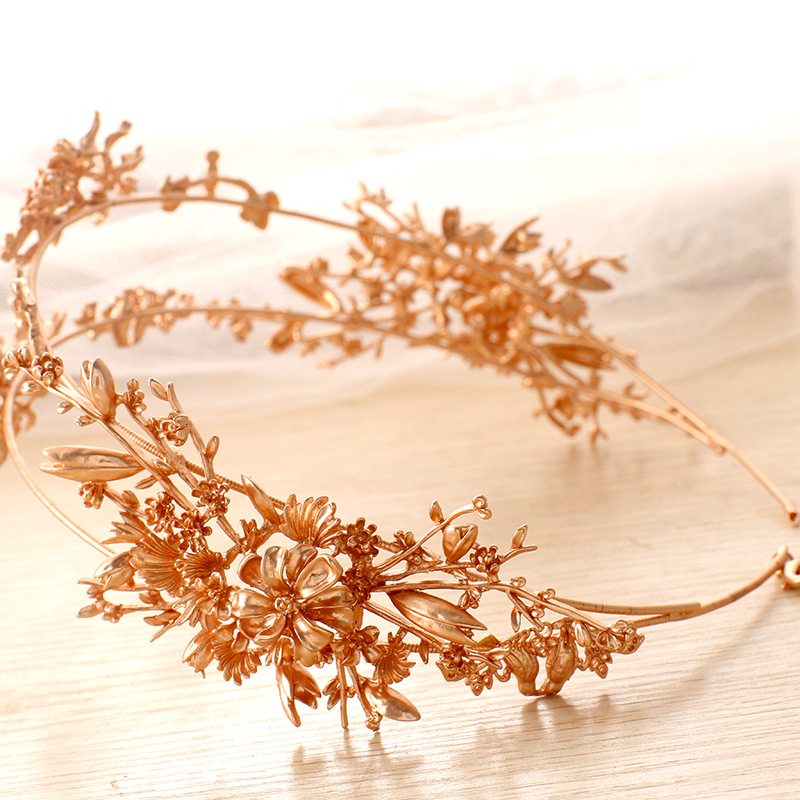 Luxury Gold Flower Bridal Tiaras Handmade Wedding Hair