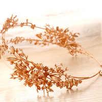 Luxus Gold Blume Braut Tiaras Handgemachte Hochzeit Haar Zubehör Zwei Reihen Braut Kopfstück Prom Haarbänder Stirnbänder