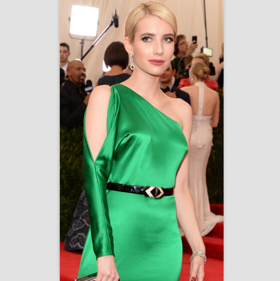 Emma Roberts Green One Shoulder Gown 2015 Met Gala Red Carpet Prom