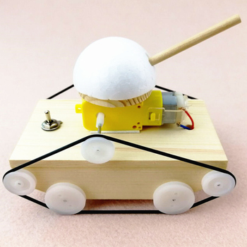 Wood Tank Science Toy Cool Kids Creative DIY Assembly Tank Model Kit Physics Science Experiment Toys Children's Gifts