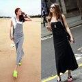 Casual Women Summer Suspender Skirt Pinafore Skirt Long Skirt Belt Sleeveless Hooded for Women Black Gray