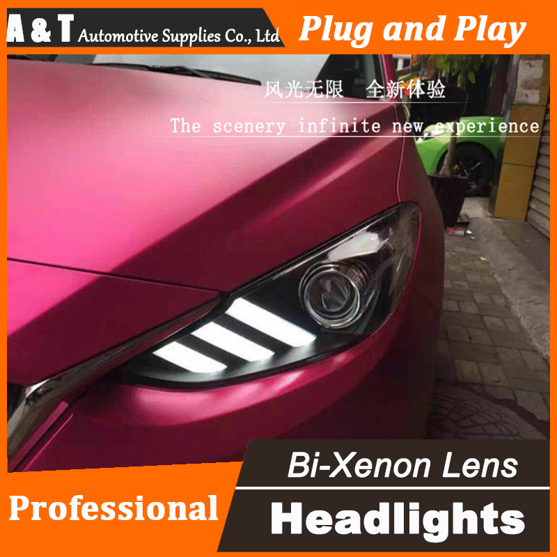 Car Styling For Mazda 3 headlights 2014-2016 Mazda3 led headlight Axela led drl turn signal drl H7 hid Bi-Xenon Lens low beam car styling for mitsubishi pajero headlights 2000 2012 pajero v73 led headlight drl turn signal drl h7 hid bi xenon lens