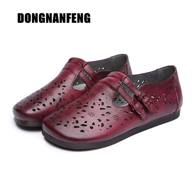 fc66b085a59 DONGNANFENG Women Mother Old Sandals Female Ladies Shoes Cow Genuine  Leather Pigskin Hollow Retro Casual Size 35-40 QBCR-188-6
