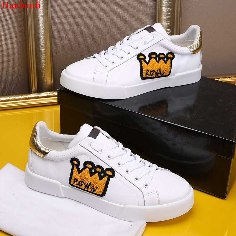 Hanbaidi Luxury Brand Embroidery Crown Mens Sneakers Genuine Leather White Round Toe Lace Up Casual Shoes Mens Loaafers Shoes 46