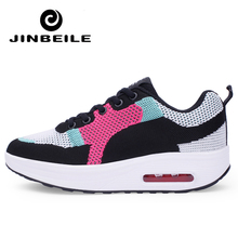 Women Air Mesh Lace Up Shoes Height Increasing Rocking Shoes Toning Sports Wedge Sneakers Platform chaussures de fitness femme akexiya women breathable mesh lace up casual platforms shoes height increasing rocking shoes sports wedge sneakers