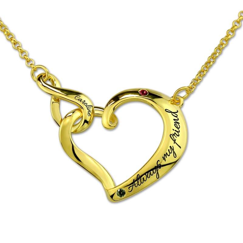 Costume pour femme nom imbriqué infini amour coeur collier or personnalisé lettre colliers avec pierres de naissance pour Couple amoureux