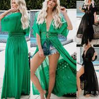 Sexy Frauen Strand Maxi Kleid 2019 Boho Hohl Bikini Cover Up Sommer Frauen Schwimmen Badeanzug Cover Ups Bademode Lange kleid