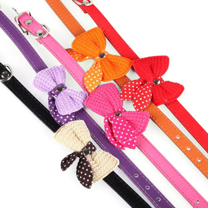 Cute Knit Bowknot Adjustable PU Leather Dog Puppy Pet Collars Necklace Decro A
