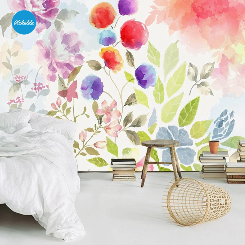 XCHELDA Custom 3D Wallpaper Design Watercolor Flowers Photo Kitchen Bedroom Living Room Wall Murals Papel De Parede Para Quarto kalameng custom 3d wallpaper design street flower photo kitchen bedroom living room wall murals papel de parede para quarto