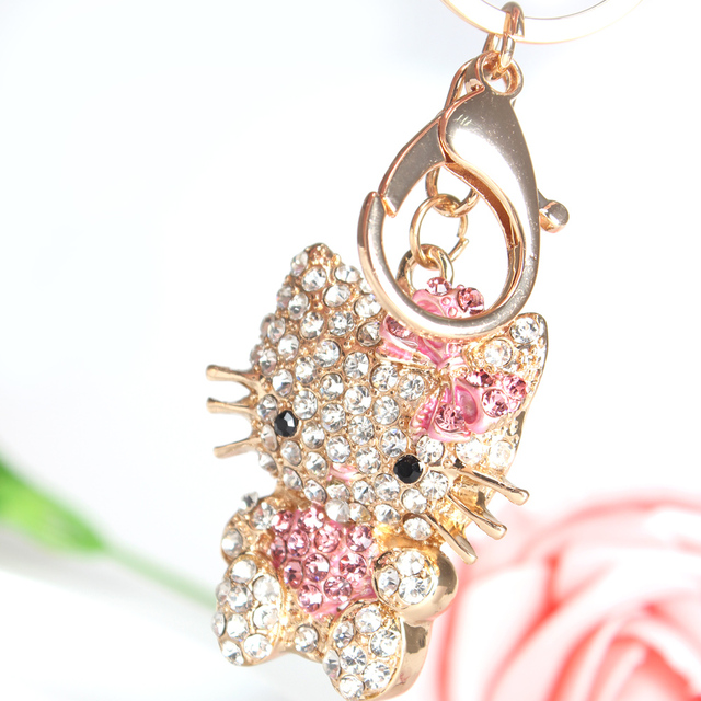 Pink Sweat Heart Butterfly Cat Cute Crystal Charm Purse Handbag Car Key Keyring Keychain Party Wedding Birthday Gift
