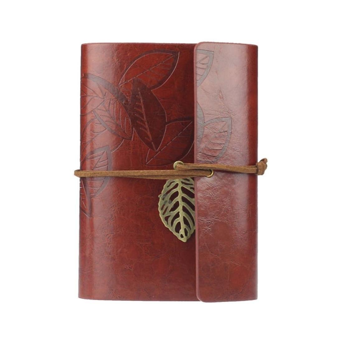 все цены на BLEL Hot Vintage Leaf PU Leather Cover Loose Leaf Blank Notebook Journal Diary Pocket Size (Dark Red)