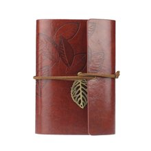 BLEL Hot Vintage Leaf PU Leather Cover Loose Leaf Blank Notebook Journal Diary Pocket Size Dark