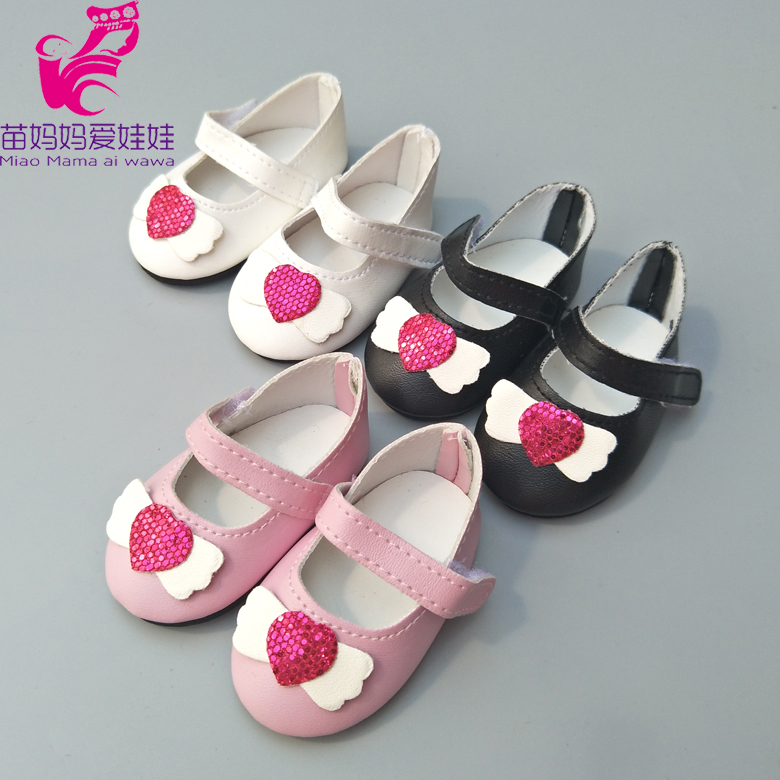 7.5CM Shoes  For 43 Cm  Baby Doll Black Pink White Princess Shoes Fits For 18inch Girl Doll Shoes Toy Boots Doll Accessories