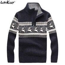 Новый LetsKeep 2016 мужские рождественский олень свитера шерсть свитер мужчин пуловеры толстые трикотажные рождественские свитера мужские, MA260