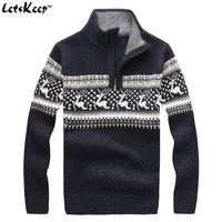 New LetsKeep 2016 Mens Christmas Deer Sweaters Wool Turtleneck Sweater Men Pullover Thick Knitted Christmas Sweater