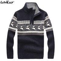 Nowy LetsKeep 2018 mężczyzna christmas jelenie swetry z wełny sweter mężczyzn sweter z golfem grube dzianiny sweter boże narodzenie mężczyzna, MA260