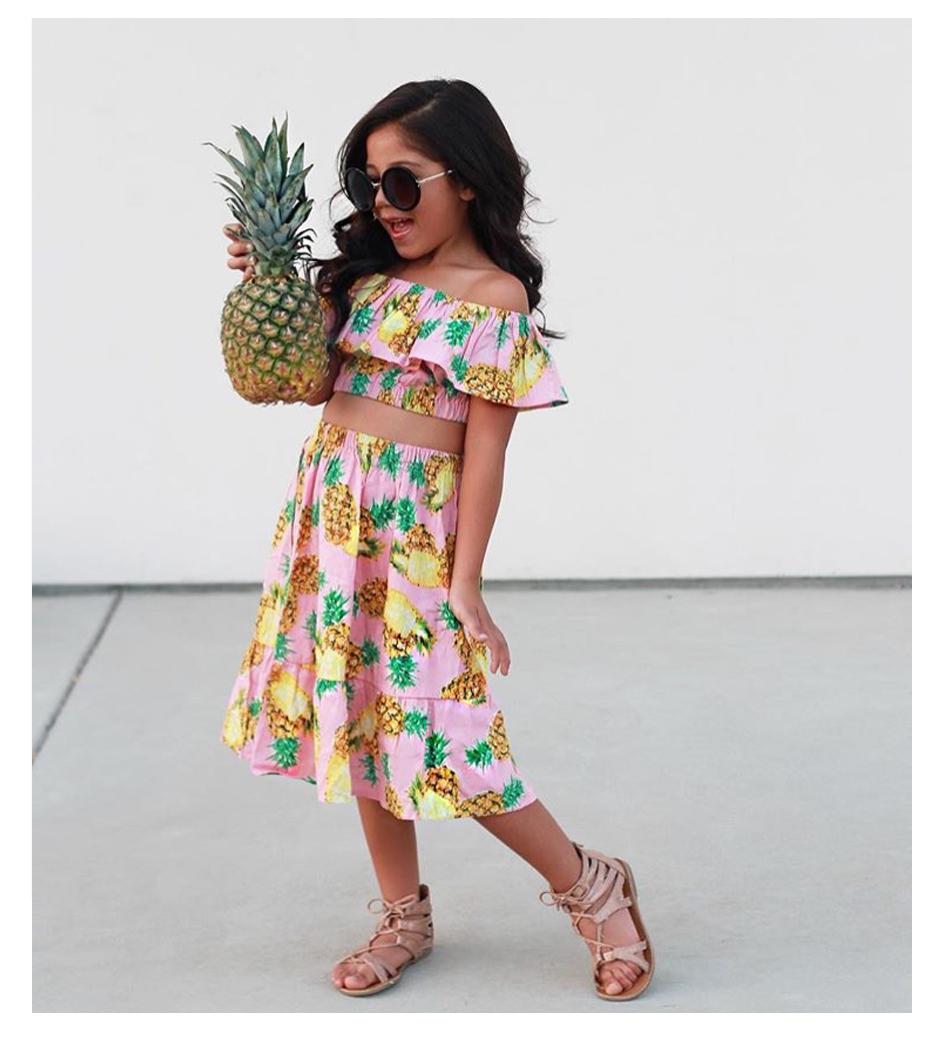 HTB1gENxb7fb uJkSnb4q6xCrXXat - 2 PCS/Set Summer Baby Girls Clothing Set Pineapple Print Off Shoulder Top+Skirt Ruffle Girls Dress Beach Sundress Robe Fille
