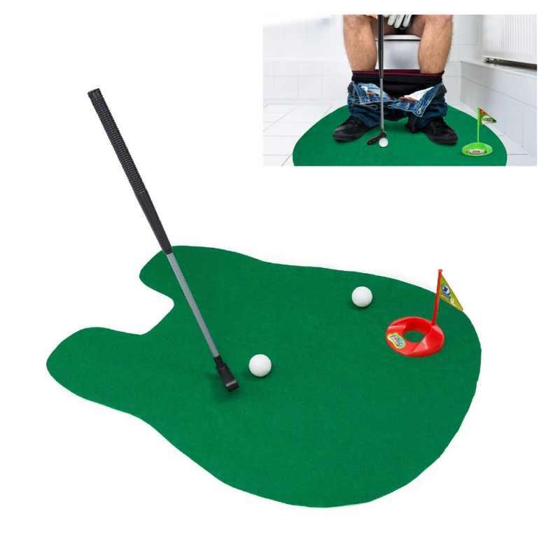 Незначительное клюшки Гольф в туалете игры высшее качество комплект для мини-гольфа Туалет подкладка для гольфа зеленый новая игра Для мужчин Для женщин практичный Корабль из США