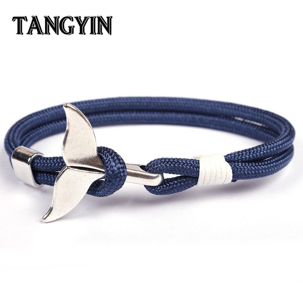 TANGYIN 2018 Trend Anchor Bracelet Whale Tail Shape Men Survival Rope Bracelet Men Male Women Jewelry Simple Hook Bracelts Ho't(China)