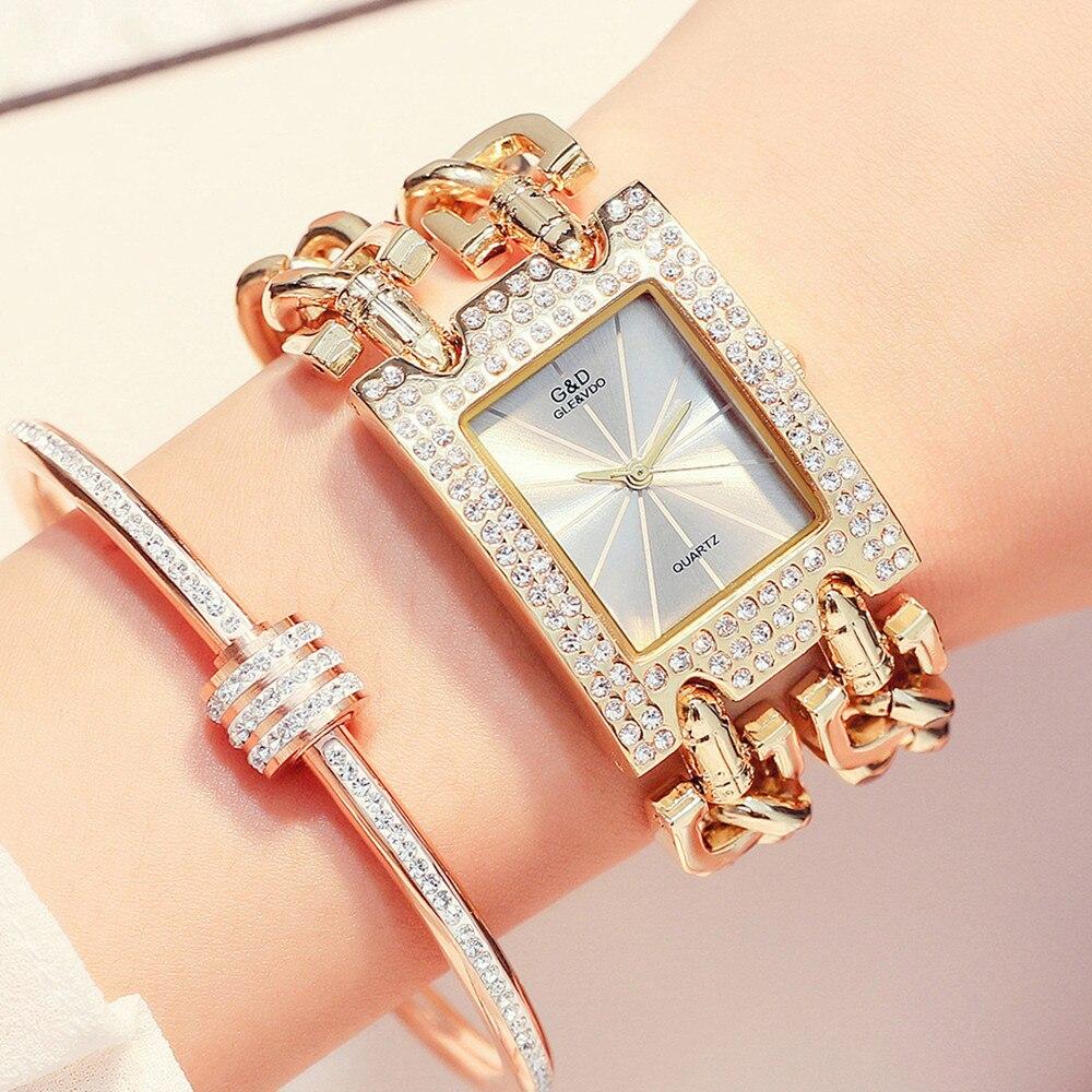 G&D Luxury Brand Women Watch 2019 Gold Women Quartz Wristwatches Rhinestones Ladies Watches Relogio Feminino Relojes Mujer Clock
