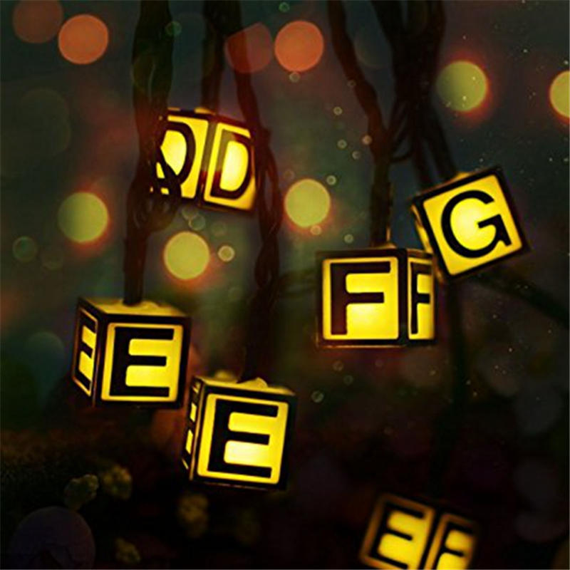 Mising Solar Powered Waterproof 4.8M 20LEDs 3D Letters Fairy String Light Warm White 8 Modes for Outdoor Garden Christmas Decor
