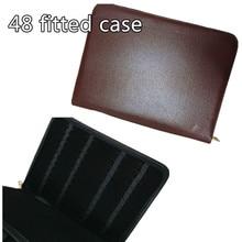 قلم حبر/بكرة فاخر من الجلد ذو علبة أقلام كبيرة حقيبة أقلام رصاص حقيبة تخزين مزودة بحامل للأقلام الرصاص حقيبة 48 قلمًا