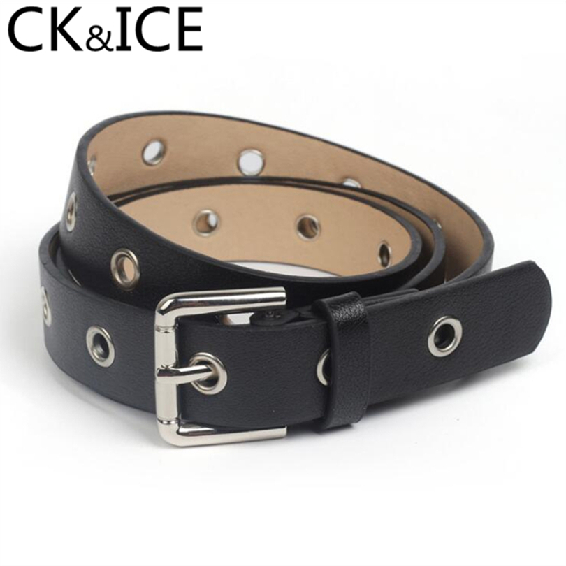 CK&ICE Metal Square Pin Belt Buckle Women Belts Casual Fashion Rivet Round Ring Soft Leather Wear-Resisting Slim Female Belts