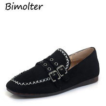 Bimolter New Fashion Women Flock Flats Spring Autumn Female Boat Shoes Buckle Metal Decoration Loafers Ladies Lazy PFEB017