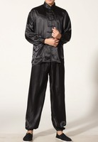 Black Chinese Men's Polyester Satin clothing set Wu Shu suits tracksuit Kung Fu Suit SIZE S M L XL XXL XXXL M0048 A
