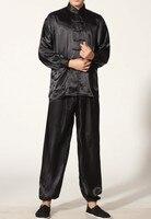 Black Chinese Men's Polyester Satin clothing set Wu Shu suits tracksuit Kung Fu Suit SIZE S M L XL XXL XXXL M0048 A