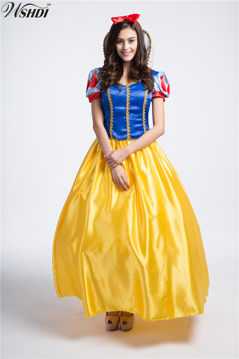 Fairy Tale Princess Snow White Costume Cosplay Fantasia Halloween Carnival Party Dress Women Adult Snow White Costumes