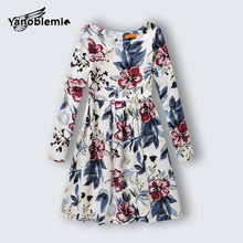 New Brand Girls Dress Baby Children Pretty Novelty Flower Printing Long Sleeve Dresses Kids Holiday Christmas Costumes Clothes