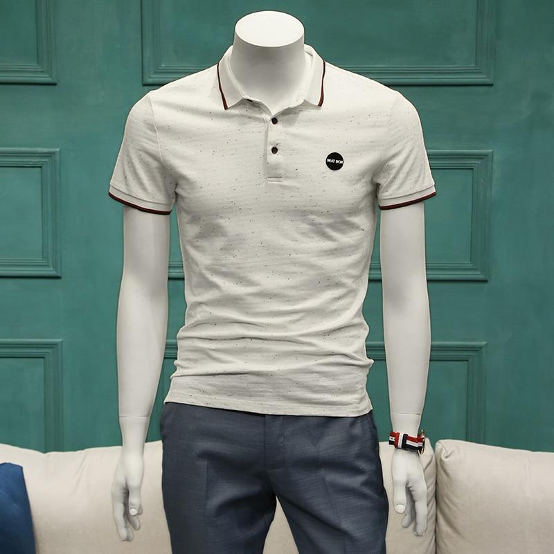 Été Polo à manches courtes hommes hommes Style européen et américain Simple chemises décontractées blanc noir hommes costume chemises