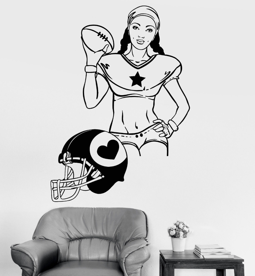 Girl Helmet Wall Art Stickers For Sports Girls Room Womens American Football Sports Vinyl Wall Decals Removable Stickers ZB272