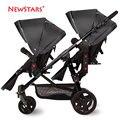 Babystar luz cochecito doble gemelos cochecito de bebé gemelo carritos infantiles doble delantero y trasero plegable ligero de dos vías