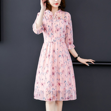 Chiffon Dress Women High Elastic Waist Party Dress Women Summer Floral Bohemian Dress Female Vestido Plus Size XXL Elegant Dress plus size floral flowy bohemian dress