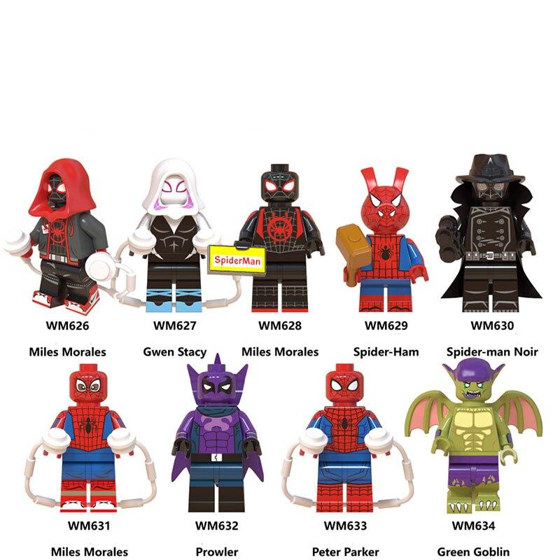 Single Sale LegoINGlys Enlighten Spiderman Spider-Verse Web Of Shadows Gwen Morales Spider Prowler Building Blocks Gift Toys