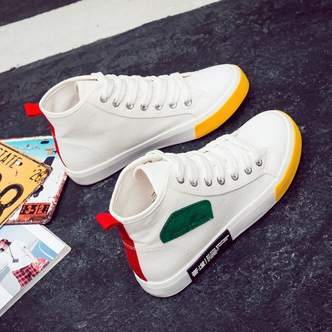Shoes Women Autumn 2018 New Spring Canvas Women Casual Shoes Lace-Up Women Fashion Shoes Platform Flats High top Women Sneakers Islamabad