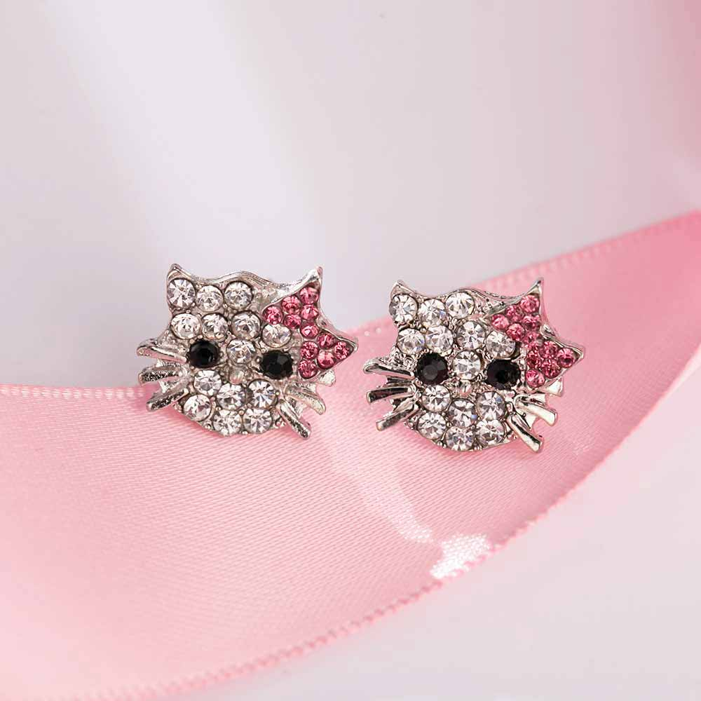 FAMSHIN Lovely Silver Plated Small Cute Hello Kitty Earrings For ...