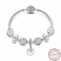 925 пробы серебро белый цветок ромашка ослепительно CZ кулон Браслеты браслеты для Для Женщин стерлингов Серебряные ювелирные изделия SCB806