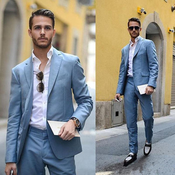 Handsome Light Blue Man Tuxedo Fashion Cheap Wedding Suit For Men Custom Made Two Pieces Groomsman Tuxedos (Jacket+Pants)