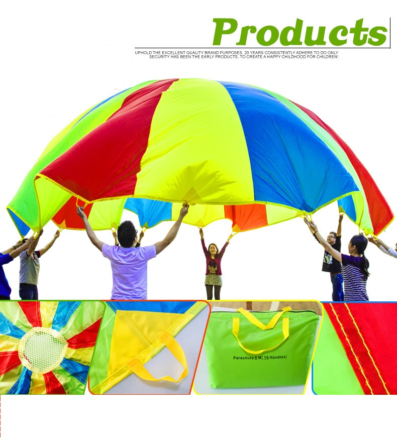 5m Child Kids Educational Toys Training Cooperation Rainbow Umbrella Parachute Outdoor Sport 1 8 3 5m outdoor toy rainbow umbrella parachute sensory toys for children kid playing outside traning cooperate outdoor games