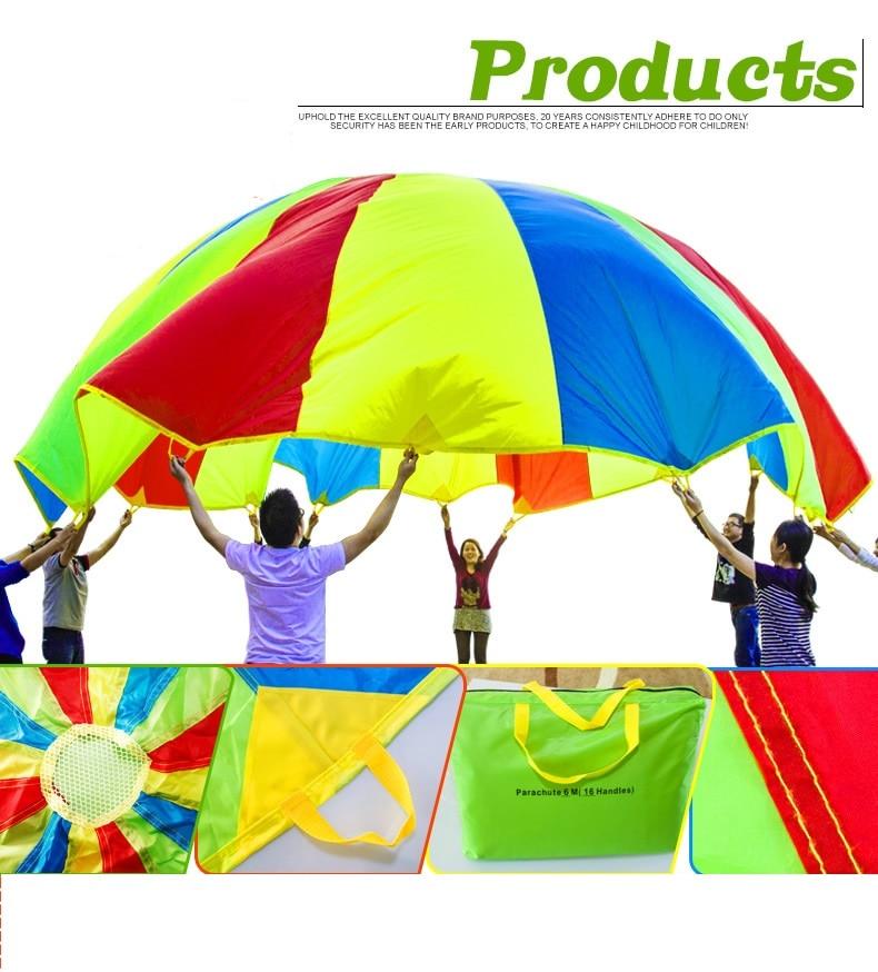5m Child Kids Educational Toys Training Cooperation Rainbow Umbrella Parachute Outdoor Sport