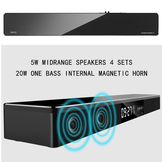 Bluetooth Soundbar Mini Column Dual Speaker Sound bar System TV Home Theater 3D Stereo DSP Surround Subwoofer NFC/Fiber/USB/RAC 1