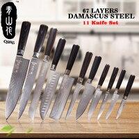 Цин 11 шт. VG10 Дамаск ножи Топ Класс японский Дамаск Сталь Пособия по кулинарии инструменты высокая прочность Кухня ножей Цвет деревянной руч