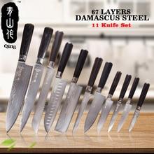 Цин 11 шт VG10 Дамаск ножи Топ Класс японский Дамаск Сталь Пособия по кулинарии инструменты высокая прочность Кухня ножей Цвет деревянной ручкой